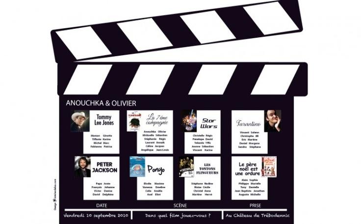 Plan de table mariage cin ma film ticket papeterie sur - Decoration anniversaire theme cinema ...
