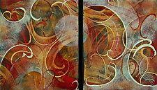 """WARM Duet by Cynthia Miller (Art Glass Wall Sculpture) (10"""" x 12"""")"""