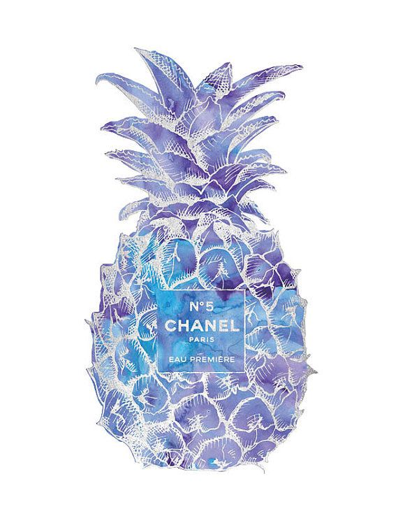Purple Silver Pineapple Chanel No5 Print Golden by hellomrmoon