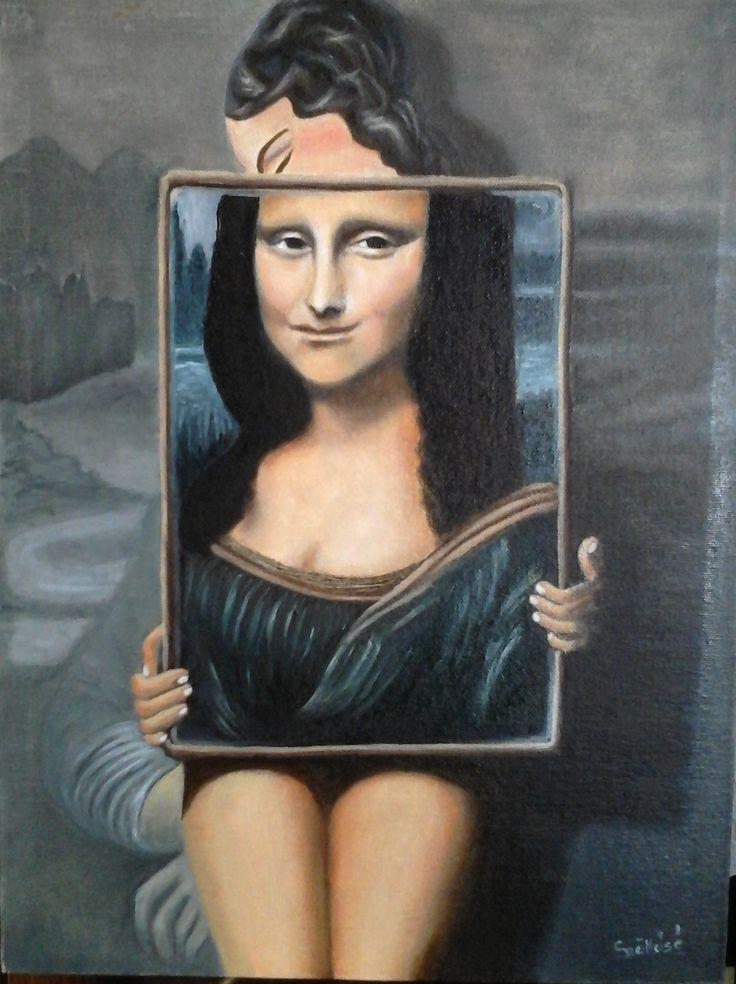 created by: (Kovácsné) Szöllős Éva - oil, 30x40 cm canvas (original: Mona Lisa Magritte 1. - Rene Magritte)
