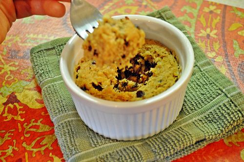 Paleo Microwave Chocolate Chip Cookie (Dough)! - The Freckled Foodie