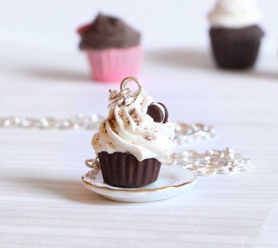 Oreo chocolate cupcake necklace kawaii made of Polymer by Zoozim
