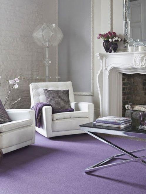 Contemporary Interiors I Bachelorette feminine decor / white and lavender (lilac) living room