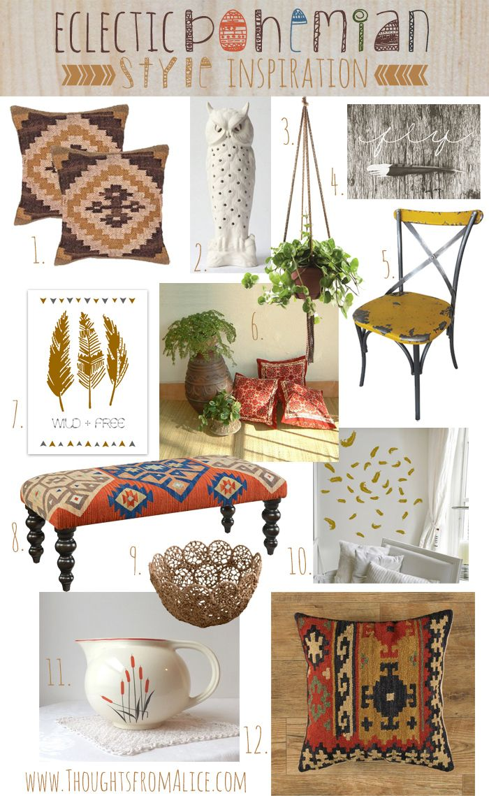 Eclectic Bohemian Style Inspiration and sources! Learn how to pull together a casual, trendy and kid friendly style in your home at www.ThoughtsfromAlice.com