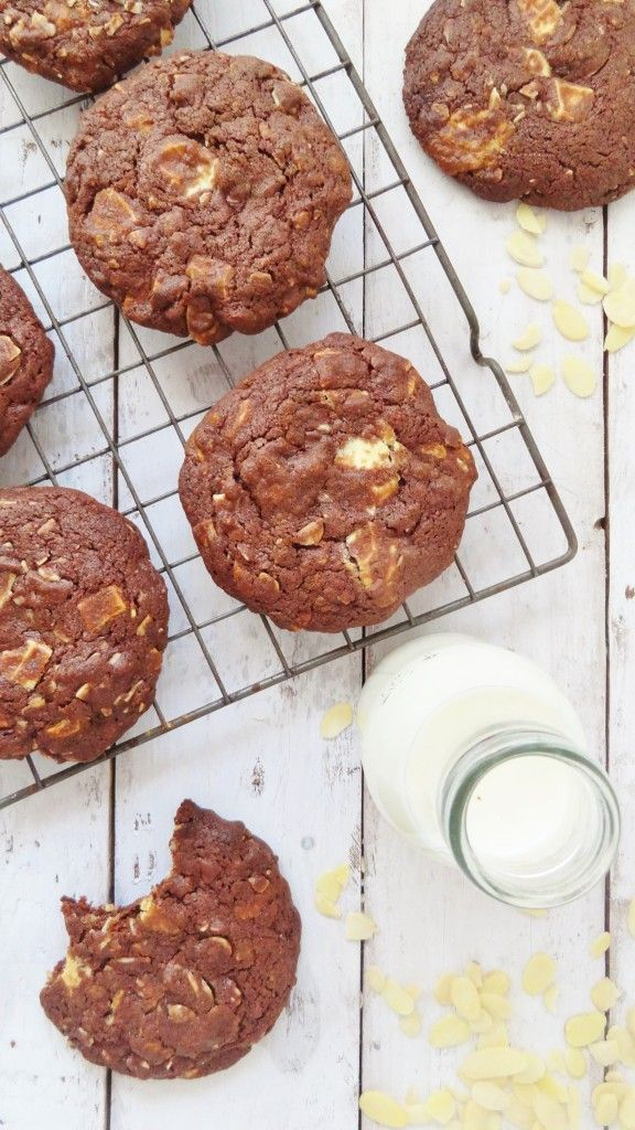 double chocOlate almond cookies with white chocolate chunks