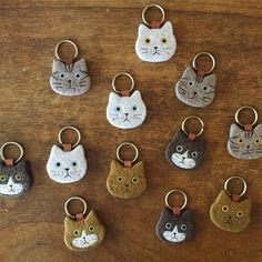 needle felted cat keychains
