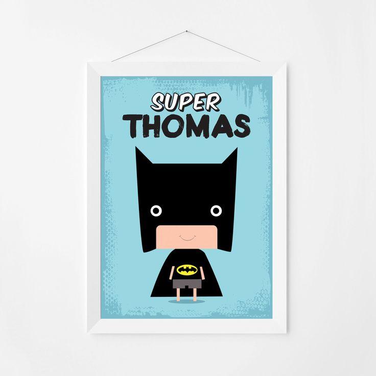 Poster print wall art. Personalized kids superhero illustration art poster with Batman kid. Custom name room decor. Digital file. by PenguinGraphics on Etsy