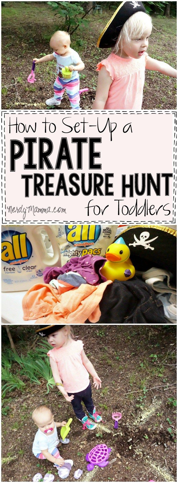 I love this easy pirate treasure hunt activity for toddlers! How simple--and cute! AD #FreeToBe