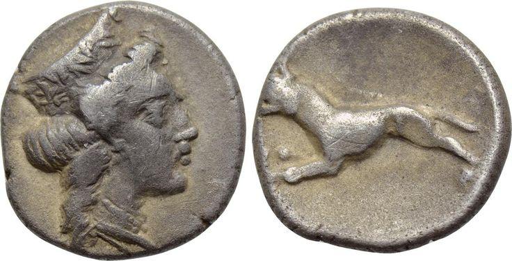 ARGOLIS. Argos. Trihemiobol (Circa 370-350 BC). Obv: Head of Hera right, wearing ornamented stephane. Rev: Dog or wolf advancing left.