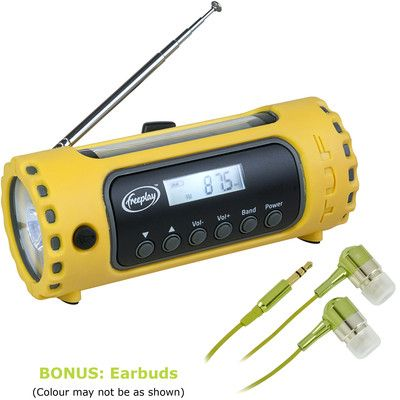 Looking at 'Freeplay Tuf AM/FM/WX Radio/Flashlight WITH BONUS EARBUDS' on SHOP.CA