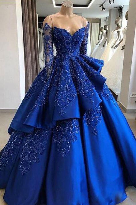 f5b8ebc7a7 Royal Blue Satin Strapless Long Sleeve Beaded V Neck Prom Dress ...