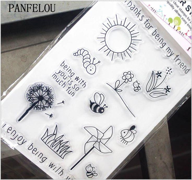 [Visit to Buy] PANFELOU 11.3*15.56cm sun rose caterpillar Transparent Silicone Rubber Clear Stamps cartoon for Scrapbooking/DIY  wedding album #Advertisement