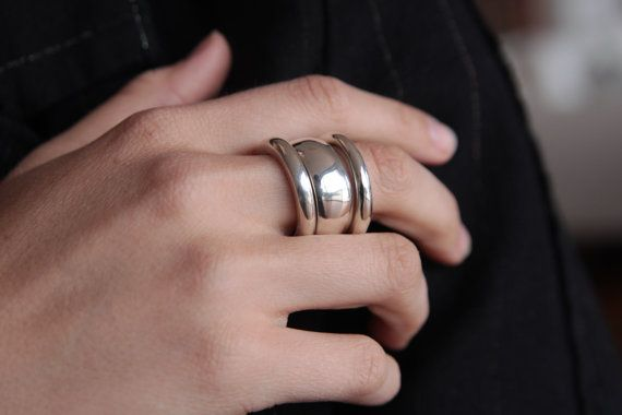 SILVER STACKING RINGS Chunky Sterling Silver Set of 3 polished smooth and asymetrical