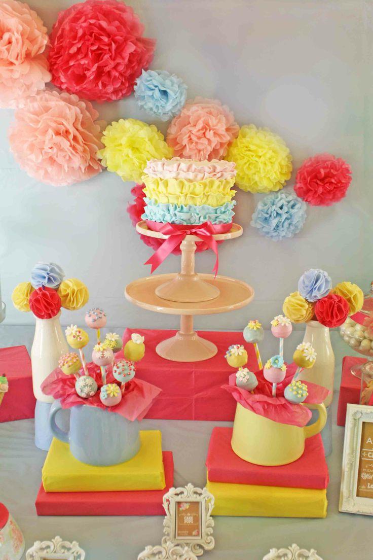 Ruffle Cake Pink Blue Yellow Girls Birthday Party Candy