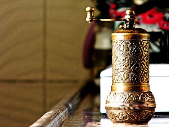 copper kitchen decor. Coffee grinders .Vintage Hand mill/ Turkish coffee grinder.