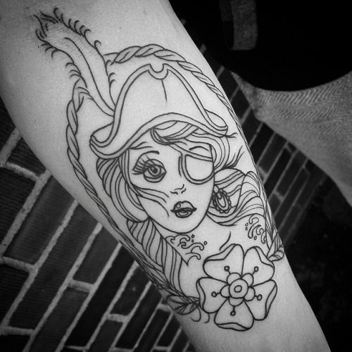 Cool Black Outline Pirate Girl Tattoo Design For Arm