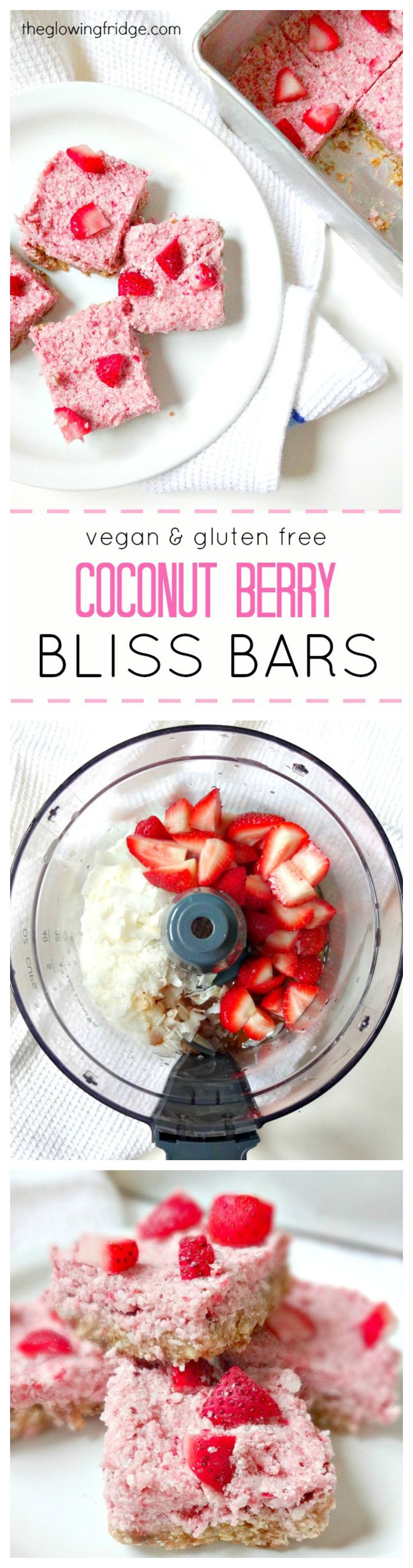Vegan & Gluten Free 'Coconut Berry Bliss Bars' made with a date crust and strawberry coconut creamy filling. Heavenly and decadent healthy dessert bars. From The Glowing Fridge
