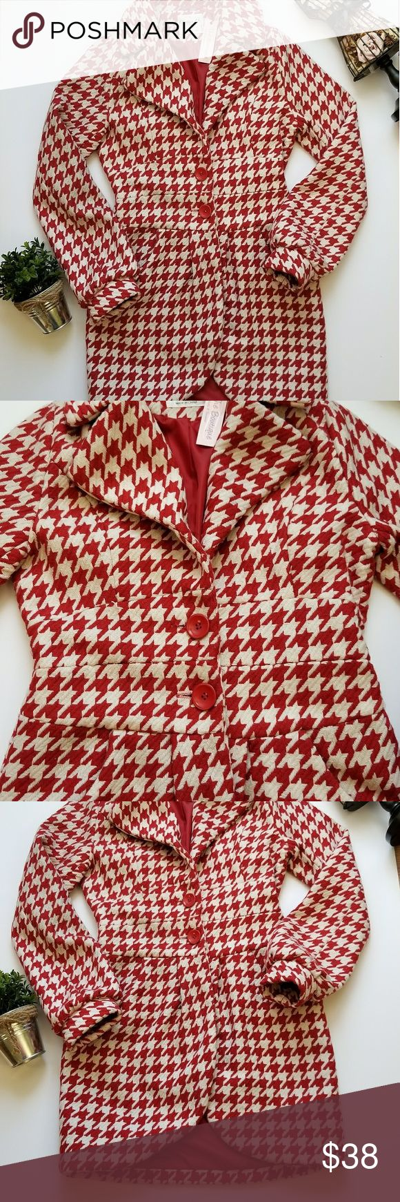 Red & White Tailored Houndstooth Peacoat Brand New  ***PRICE IS VERY FIRM*** Amazing Red & White *Vintage Style* Houndstooth Tailored Peacoat  ***Dry Clean Only***  Measurements: Size: Medium (I am true small and it fits me perfect)  Arm pit to arm pit: 18in. Waste: 15 1/2 in. Hip: 17in. Bottom flare width: 19in. Shoulder seam to end of Sleeve: 22in. Top of shoulder to very bottom: 32in.  PURCHASE BY 1PM CST AND IT WILL USUALLY SHIP THE SAME DAY !!! Better B Jackets & Coats Pea Coats