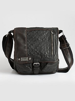 Shop men's bags at Guess.com today and be fashionable!Guess is known for their sexy, trendsetting and all american look with a touch of European. Check this item from their latest collection of men's bags. This sleek bag will take you anywhere in style. Washed polyurethane exterior features quilted detail and lightly distressed trim. Front flap design. Snap button closure. Aged silver-tone hardware.    Please visit: http://shop.guess.com/Catalog/Browse/Men%27s%20Accessories/Mens%20Bags/