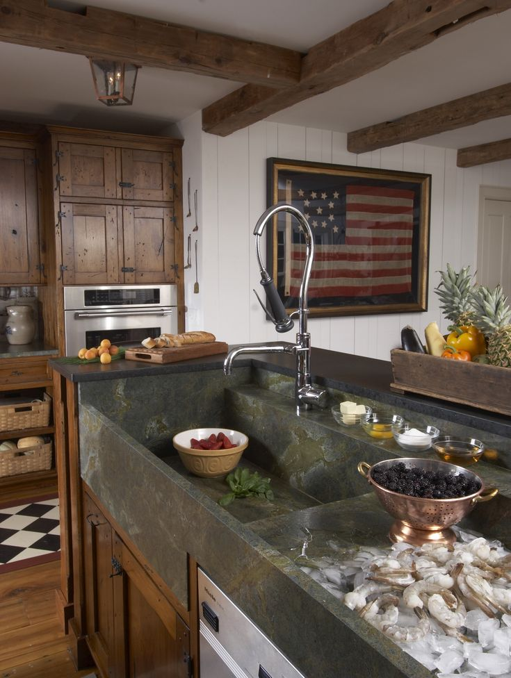 Americana Kitchen; amply-scaled marble sinks form this kitchen's central hub.