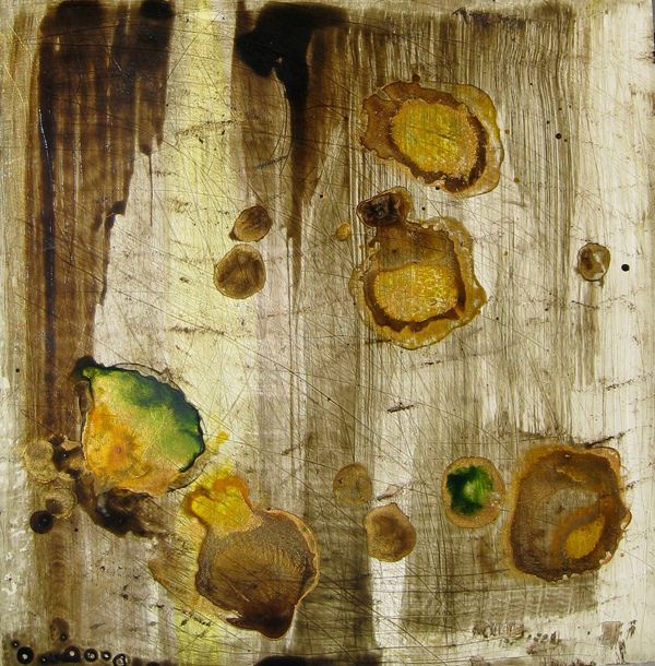 """""""Brown Realm"""" work on Claybord, acrylic, ink, pigment and metallic gold. by Marla Lombard"""