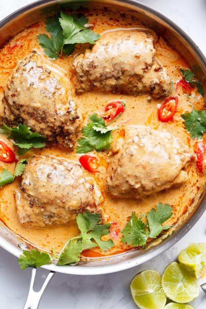 Thai Satay Chicken Thighs In Peanut Sauce | cafedelites.com