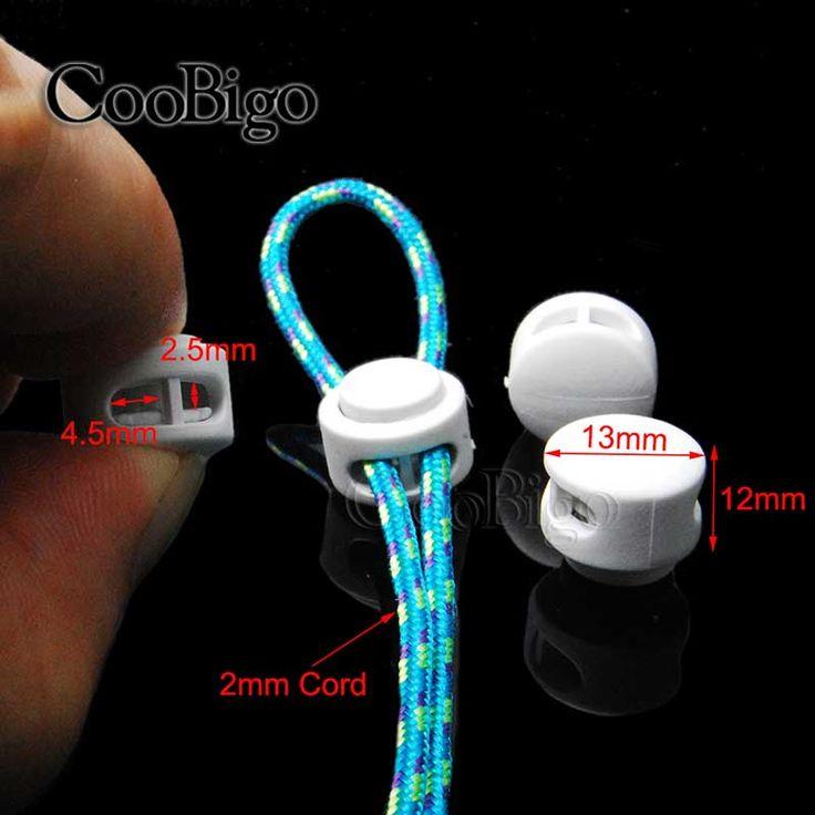 100 unids Paquete Blanco Tapón de la Palanca de Bloqueo de Cable de Plástico Clip de Pinza 2 agujero 2mm Cuerda Paracord Prenda Zapatos # FLS029-W(China (Mainland))