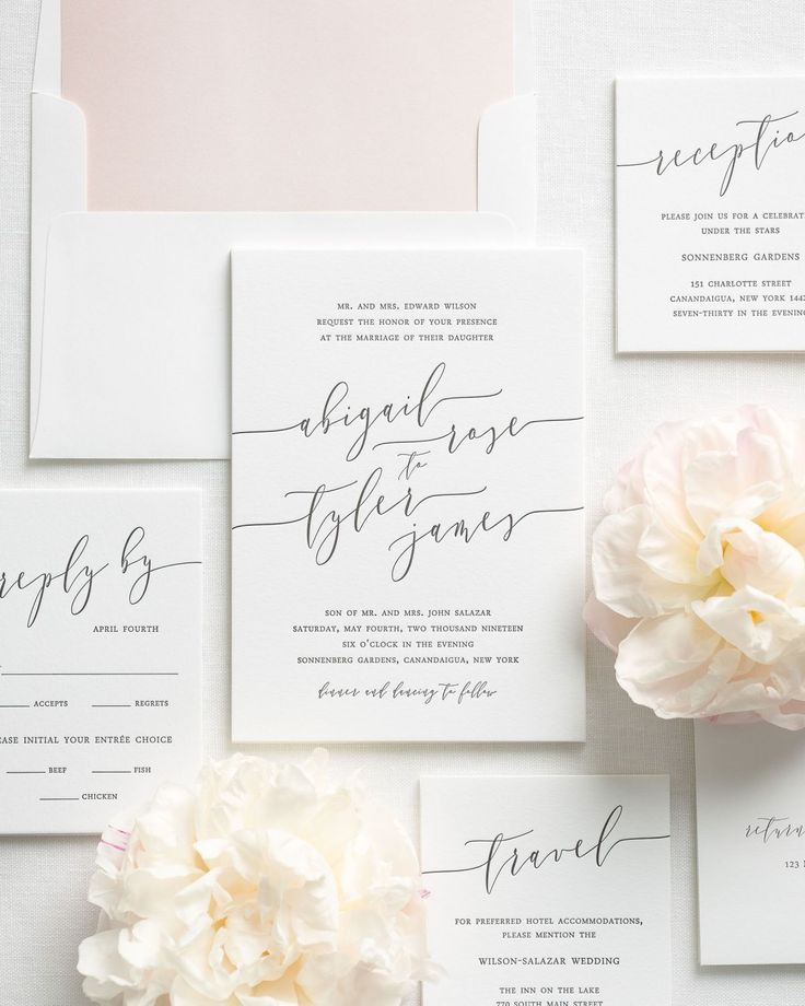 Letterpress Wedding Invitation Package with Modern Calligraphy