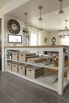 Custom Industrial Kitchen Island with Crates & Pallets crates for storage