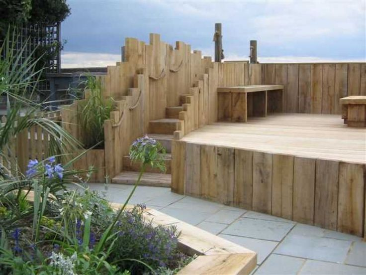 decking steps and fence from railway sleepers