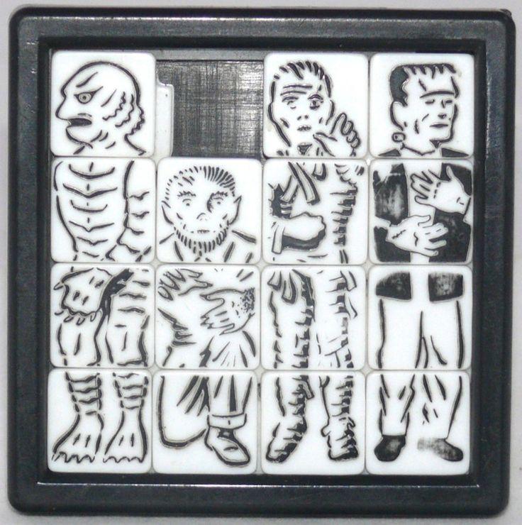 1963 movie monsters plastic slide puzzle in 2020 vintage