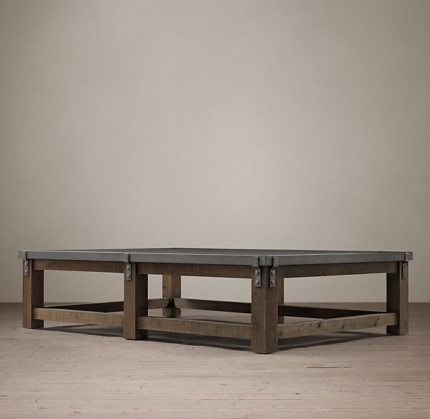 Reclaimed wood zinc strap coffee table interior pinterest hardware restoration hardware Restoration coffee tables