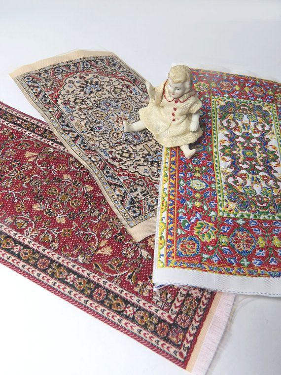 3 Vintage Dollhouse Turkish Design Style Rugs Woven Carpet