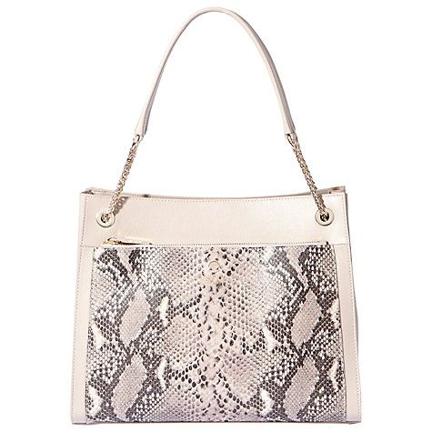 Buy Modalu Clara Chain Leather Shoulder Bag, Grey Snake Online at johnlewis.com