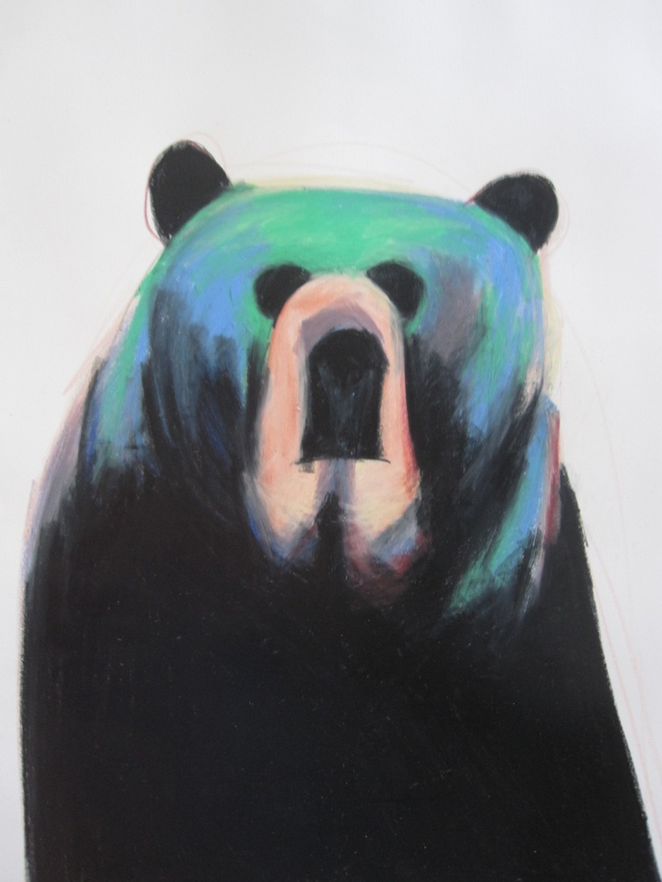 colorful bear, color pencil drawing