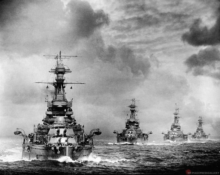 British 'R' class WW1 vintage 15 in battleships at sea, 1930: HMSs Revenge, Ramillies, Royal Sovereign and Resolution, taken from sister HMS Royal Oak. The latter was to be sunk by U 47 with heavy loss of life inside Scapa Flow in October 1939; all the other sisters survived WW2.feb16