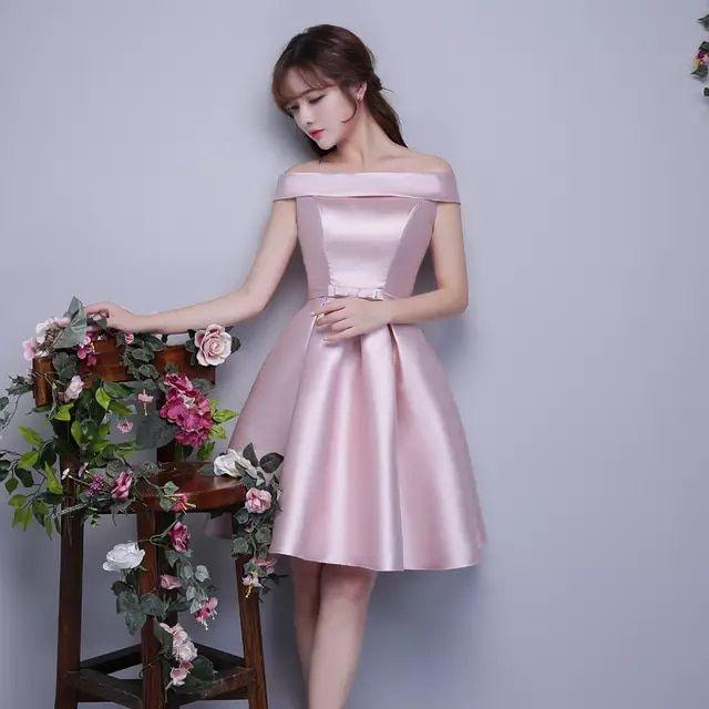 7551c61fbd84 Nuevas Damas de Honor Vestidos de Rosa Satén Grueso Corto Banquete ...