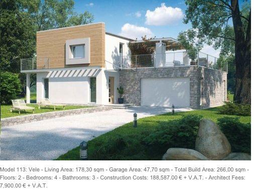Eco Villas: Model 113: Vele - Living Area: 178,30 sqm - Garage Area: 47,70 sqm - Total Build Area: 266,00 sqm - Floors: 2 - Bedrooms: 4 - Bathrooms: 3 - Construction Costs: 188,587.00 € + V.A.T. - Architect Fees: 7,900.00 € + V.A.T.