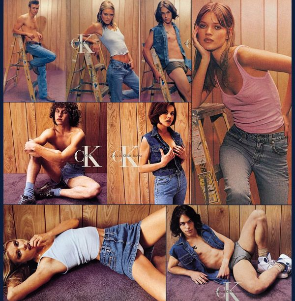 """For fall-winter 1995, a Calvin Klein advertising campaign photographed by Steven Meisel went under fire for what many people thought as promoting """"kiddie porn"""". The young looking models in states of undress it what looked like a basement was unsettling for some. Despite complaints, all of the models featured in the shoot were of age at the time of the shooting."""