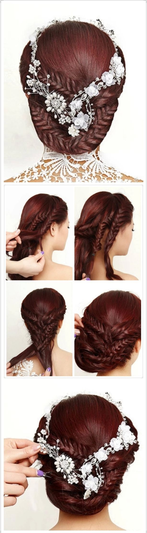 I like this even without the flowers.  Hair styles for long hair hairstyles. Re-pin if you like. Via Inweddingdress.com #hairstyles