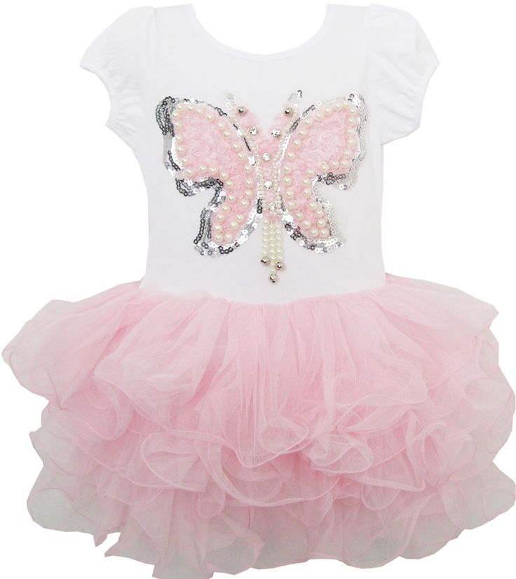 Girls Dress Butterfly Tutu Dance Pageant Party Kids Clothes Size 2-8 Years New