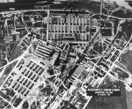 Aerial picture of Auschwitz I, the main camp.