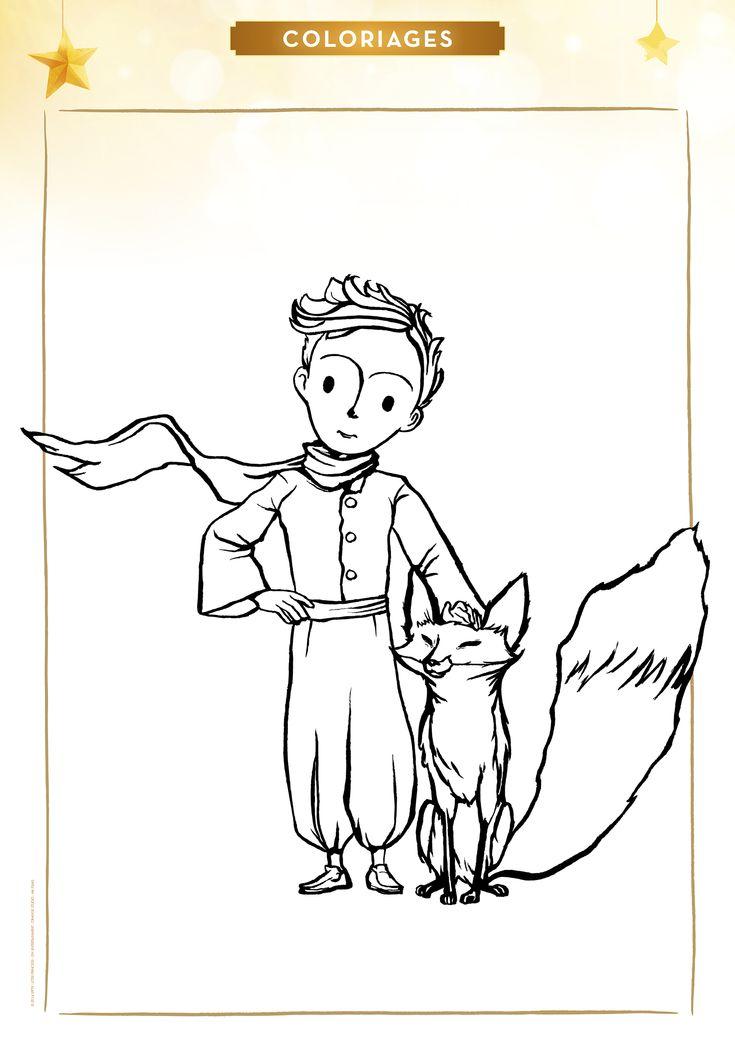 Coloriage le Petit Prince et le Renard - Momes.net