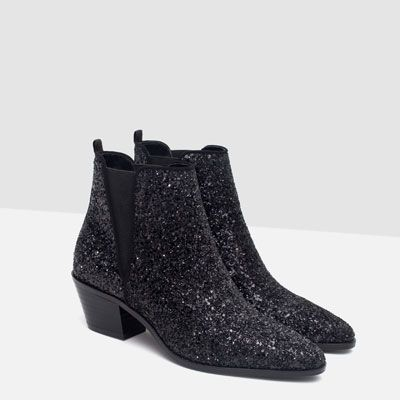 Belles bottines à paillettes noires by Zara ♥ Just fabulous sparkly glitter boots from Zara ♥