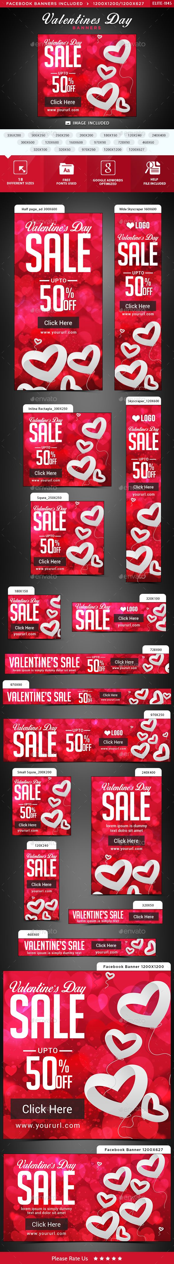 Valentines Day Web Banners Template PSD. Download here: http://graphicriver.net/item/valentines-day-banners/14752765?ref=ksioks
