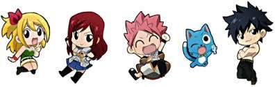 Chibi Fairy Tail characters: Lucy, Erza, Nats, Happy and ...
