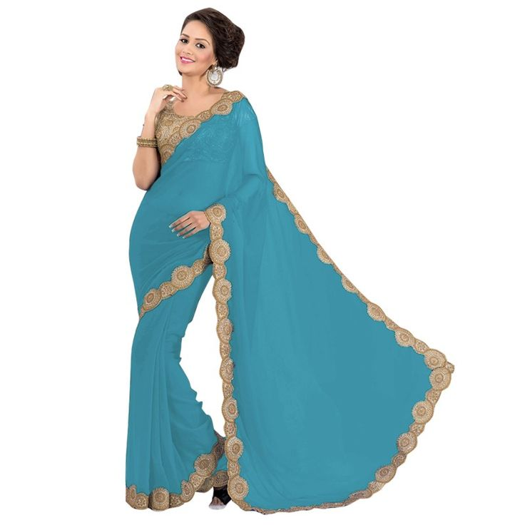 Party Wear Georgette Royal Blue Saree - EBSFS16580
