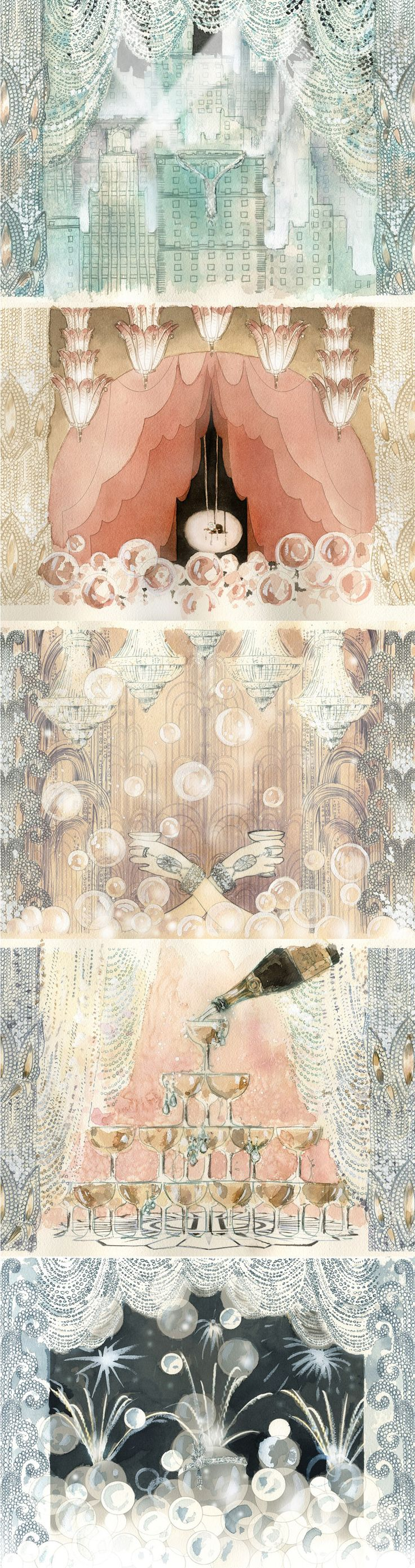 """Tiffany and VM sketches for the new window display in NYC , inspirations from """"The Great Gatsby"""" film"""
