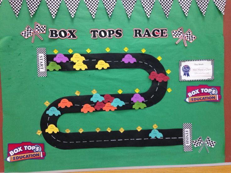 School Box tops class race cars bulletin board   BTFE classroom race