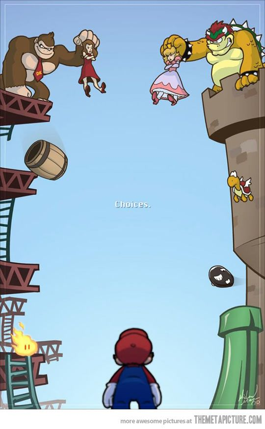 Mario's dilemma..always choose Princess Peach unless its Princess Daisy!!!